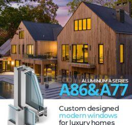 Custom designed modern windows for luxury homes Greenwich CT. 24' sliding doors, very efficient large windows